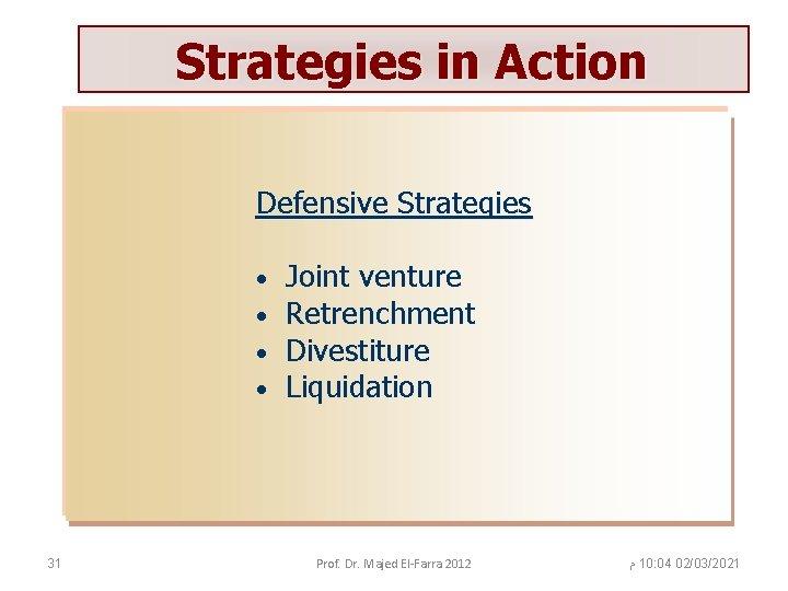 Strategies in Action Defensive Strategies • • 31 Joint venture Retrenchment Divestiture Liquidation Prof.