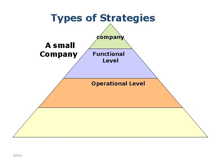 Types of Strategies company A small Company Functional Level Operational Level 5 Ch 5