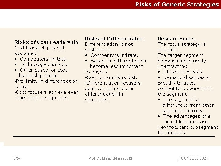 Risks of Generic Strategies Risks of Cost Risksofof. Differentiation Leadership Differentiation is not Risks