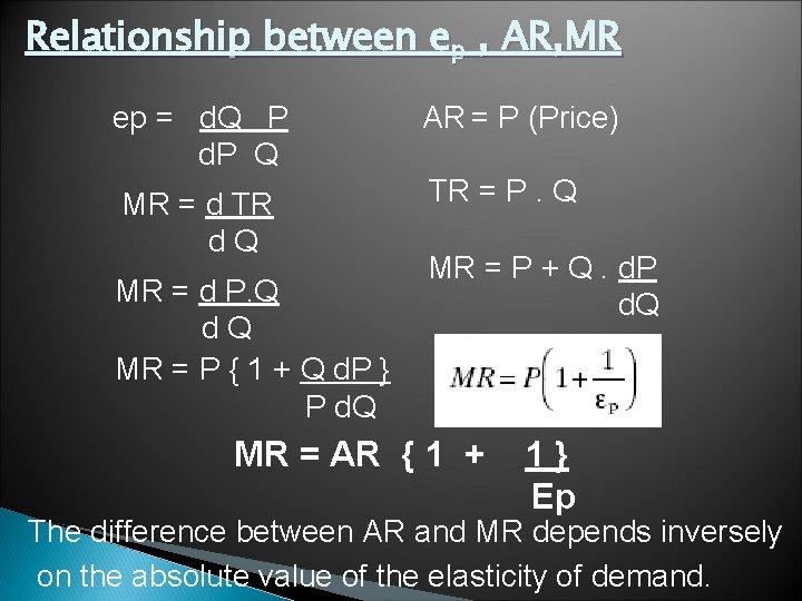 Relationship between ep , AR, MR ep = d. Q P d. P Q