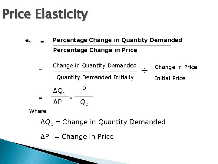Price Elasticity ep = Percentage Change in Quantity Demanded Percentage Change in Price =