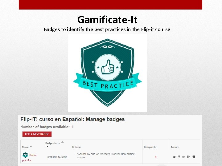 Gamificate-It Badges to identify the best practices in the Flip-it course