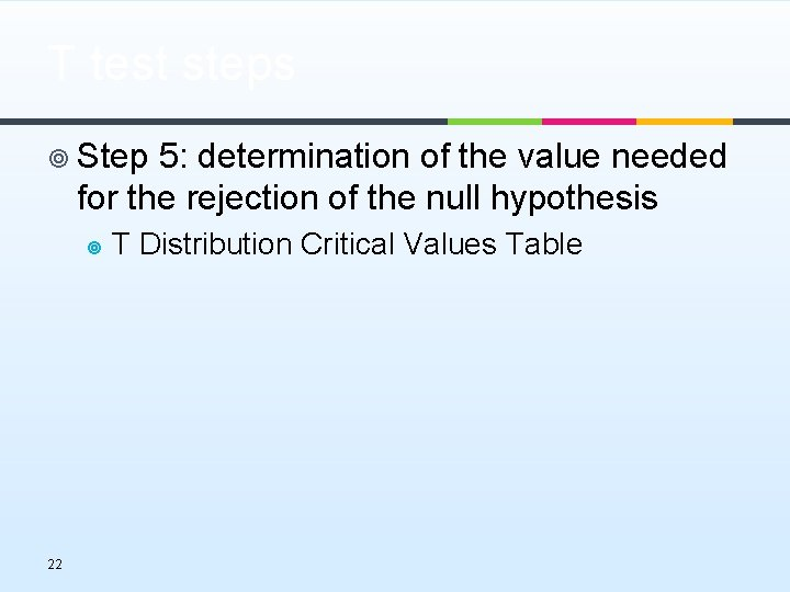 T test steps ¥ Step 5: determination of the value needed for the rejection