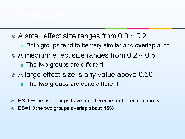 Effect size ¥ A small effect size ranges from 0. 0 ~ 0. 2