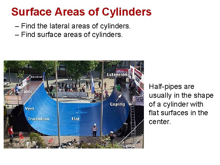 Surface Areas of Cylinders – Find the lateral areas of cylinders. – Find surface