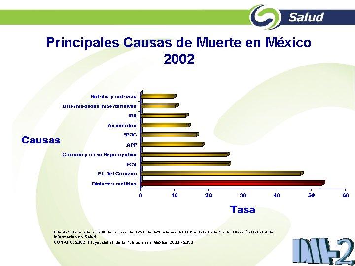Principales Causas de Muerte en México 2002 Fuente: Elaborado a partir de la base