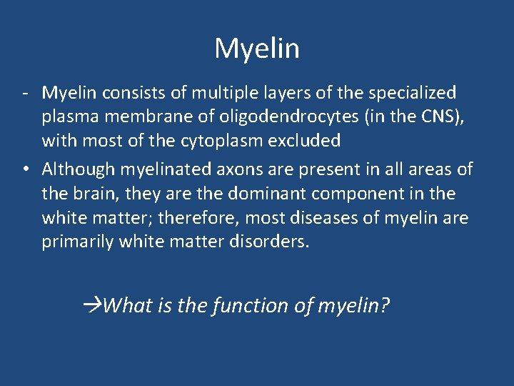 Myelin - Myelin consists of multiple layers of the specialized plasma membrane of oligodendrocytes
