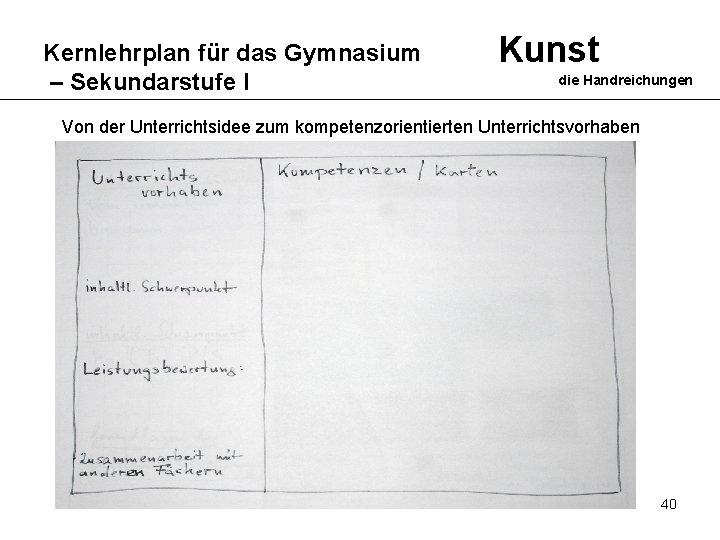 Kernlehrplan für das Gymnasium – Sekundarstufe I Kunst die Handreichungen Von der Unterrichtsidee zum