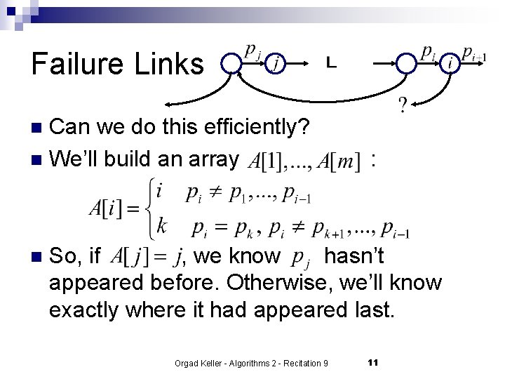 Failure Links Can we do this efficiently? n We'll build an array n n