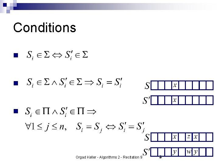 Conditions n n n Orgad Keller - Algorithms 2 - Recitation 9 3