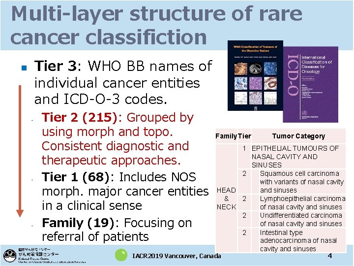 Multi-layer structure of rare cancer classifiction Tier 3: WHO BB names of individual cancer