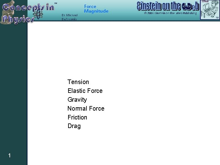 Force Magnitude Tension Elastic Force Gravity Normal Force Friction Drag 1