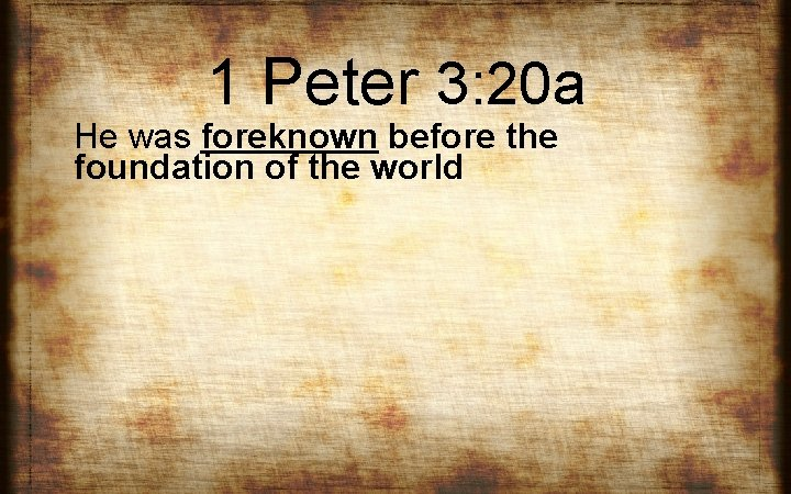1 Peter 3: 20 a He was foreknown before the foundation of the world