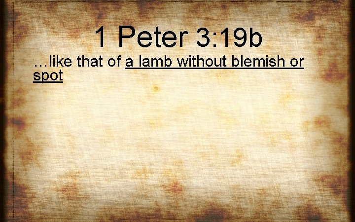 1 Peter 3: 19 b …like that of a lamb without blemish or spot