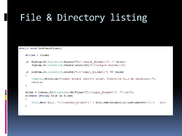File & Directory listing