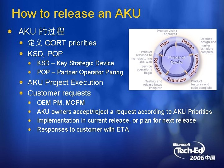 How to release an AKU 的过程 定义 OORT priorities KSD, POP KSD – Key