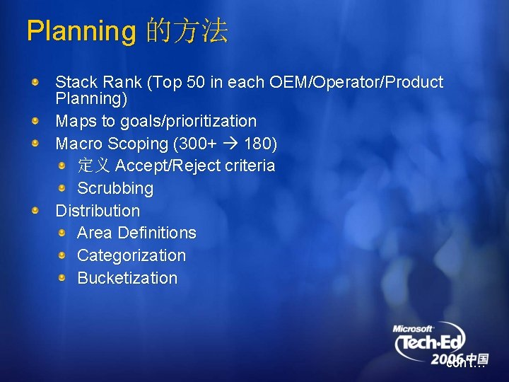 Planning 的方法 Stack Rank (Top 50 in each OEM/Operator/Product Planning) Maps to goals/prioritization Macro