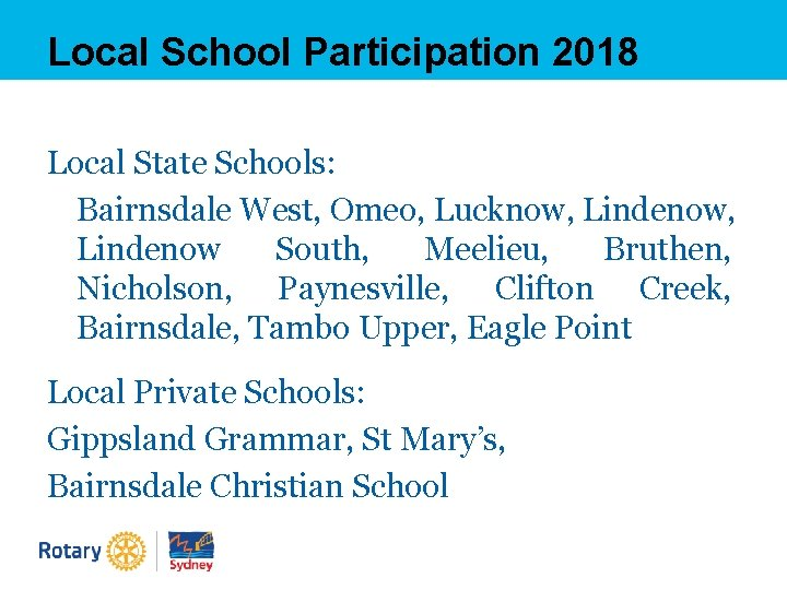 Local School Participation 2018 Local State Schools: Bairnsdale West, Omeo, Lucknow, Lindenow South, Meelieu,