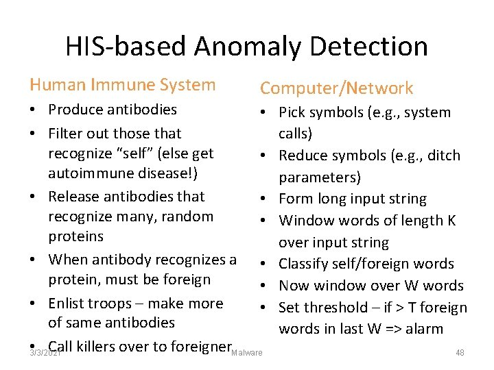 HIS-based Anomaly Detection Human Immune System Computer/Network • Produce antibodies • • Filter out