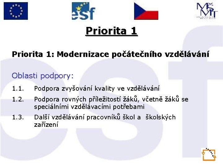 Priorita 1: Modernizace počátečního vzdělávání Oblasti podpory: 1. 1. Podpora zvyšování kvality ve vzdělávání