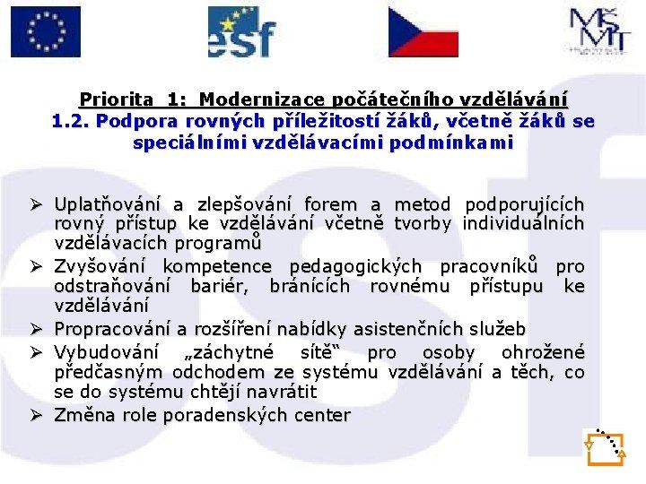 Priorita 1: Modernizace počátečního vzdělávání 1. 2. Podpora rovných příležitostí žáků, včetně žáků se