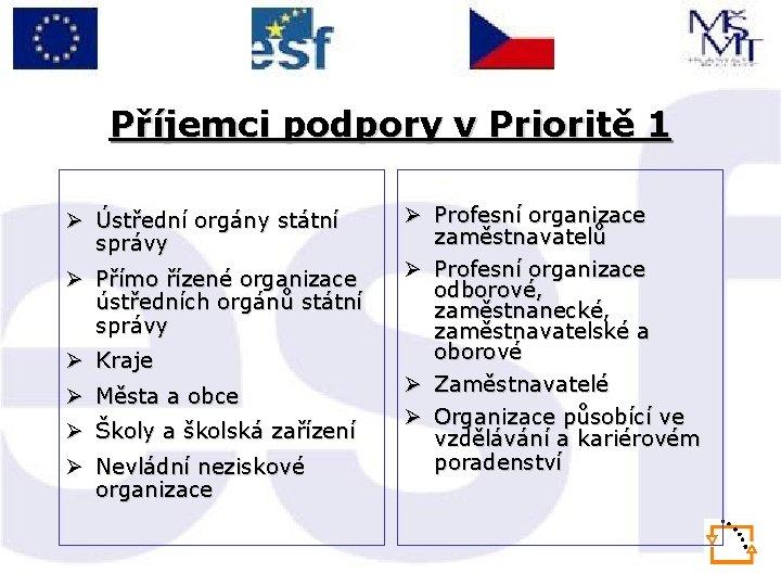 Příjemci podpory v Prioritě 1 Ø Ústřední orgány státní správy Ø Přímo řízené organizace