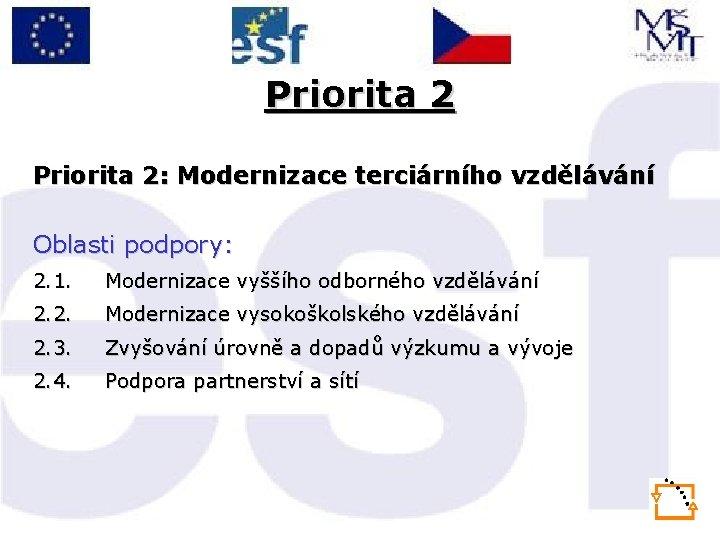 Priorita 2: Modernizace terciárního vzdělávání Oblasti podpory: 2. 1. Modernizace vyššího odborného vzdělávání 2.
