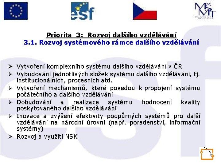 Priorita 3: Rozvoj dalšího vzdělávání 3. 1. Rozvoj systémového rámce dalšího vzdělávání Ø Vytvoření