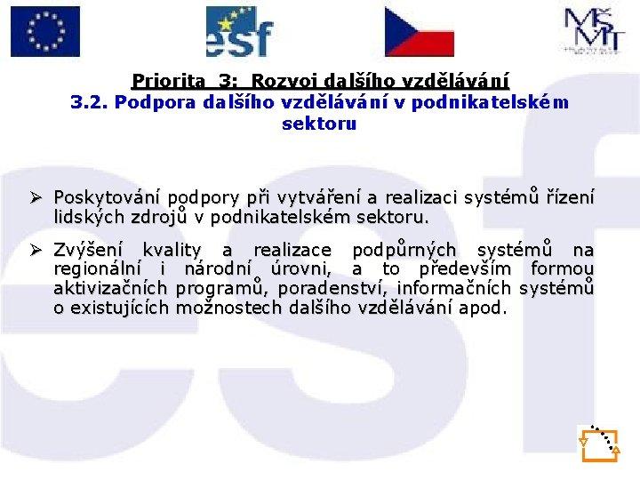 Priorita 3: Rozvoj dalšího vzdělávání 3. 2. Podpora dalšího vzdělávání v podnikatelském sektoru Ø