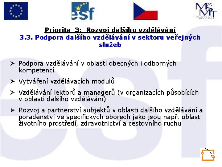 Priorita 3: Rozvoj dalšího vzdělávání 3. 3. Podpora dalšího vzdělávání v sektoru veřejných služeb