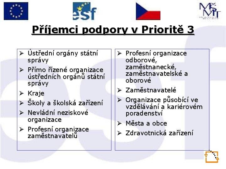 Příjemci podpory v Prioritě 3 Ø Ústřední orgány státní správy Ø Přímo řízené organizace