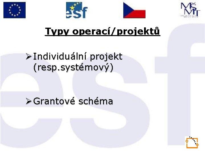 Typy operací/projektů Ø Individuální projekt (resp. systémový) Ø Grantové schéma
