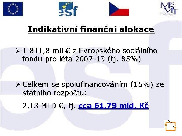 Indikativní finanční alokace Ø 1 811, 8 mil € z Evropského sociálního fondu pro
