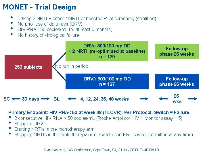 MONET - Trial Design • • Taking 2 NRTI + either NNRTI or boosted