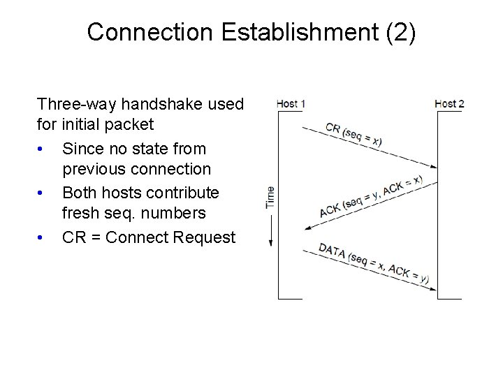 Connection Establishment (2) Three-way handshake used for initial packet • Since no state from