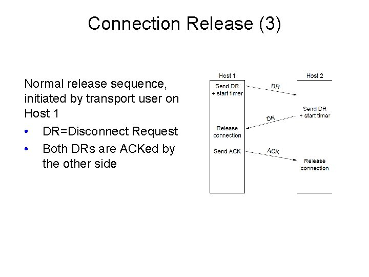 Connection Release (3) Normal release sequence, initiated by transport user on Host 1 •