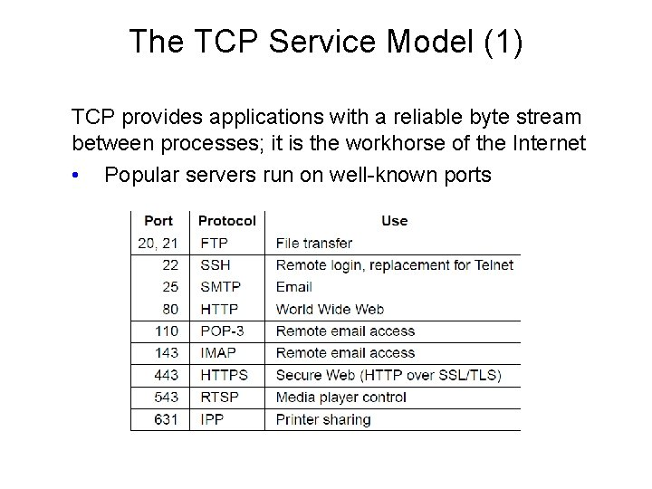 The TCP Service Model (1) TCP provides applications with a reliable byte stream between
