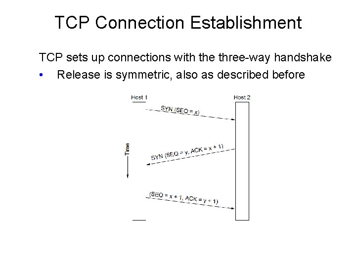 TCP Connection Establishment TCP sets up connections with the three-way handshake • Release is
