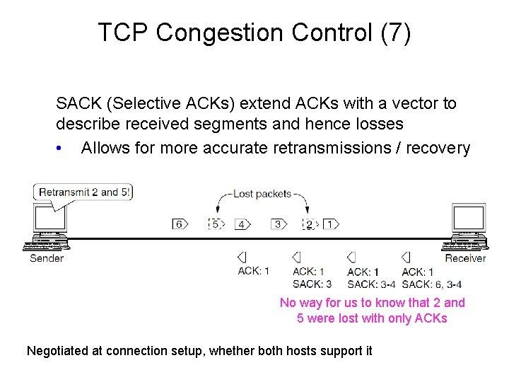 TCP Congestion Control (7) SACK (Selective ACKs) extend ACKs with a vector to describe