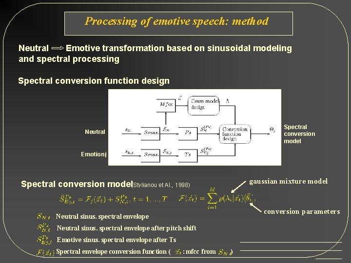 Processing of emotive speech: method Neutral Emotive transformation based on sinusoidal modeling and spectral