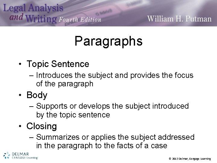 Paragraphs • Topic Sentence – Introduces the subject and provides the focus of the