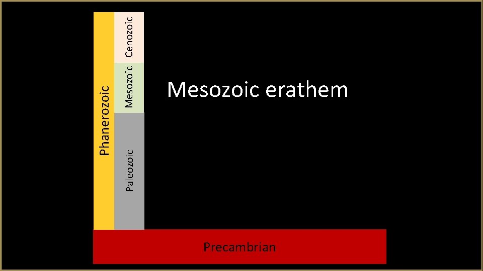 Paleozoic Mesozoic Cenozoic Phanerozoic Mesozoic erathem Precambrian