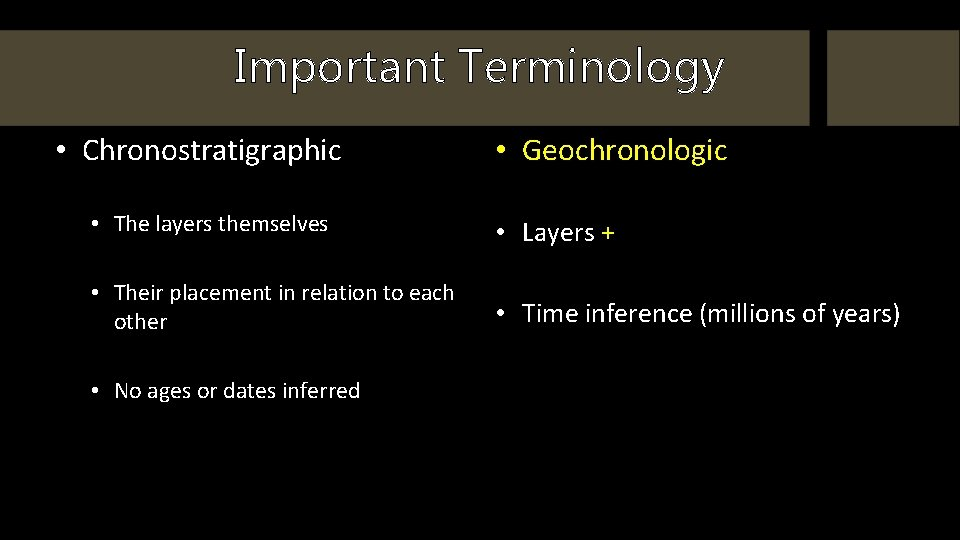 Important Terminology • Chronostratigraphic • Geochronologic • The layers themselves • Layers + •