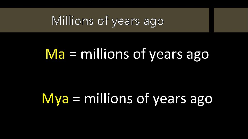 Millions of years ago Ma = millions of years ago Mya = millions of