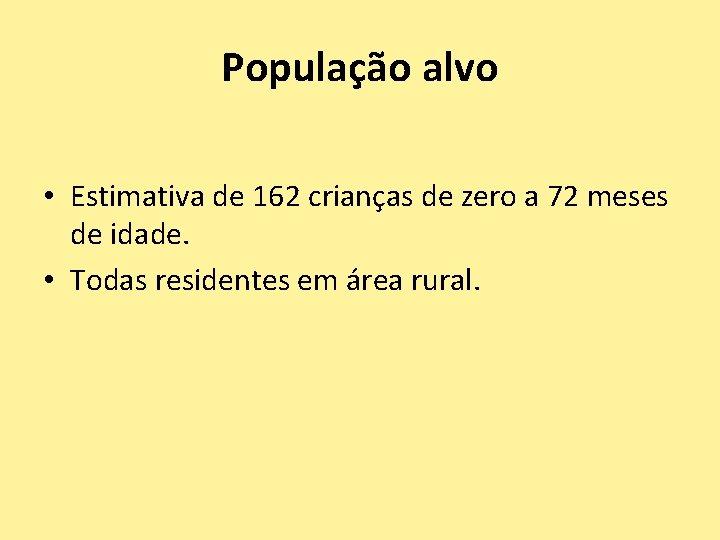 População alvo • Estimativa de 162 crianças de zero a 72 meses de idade.