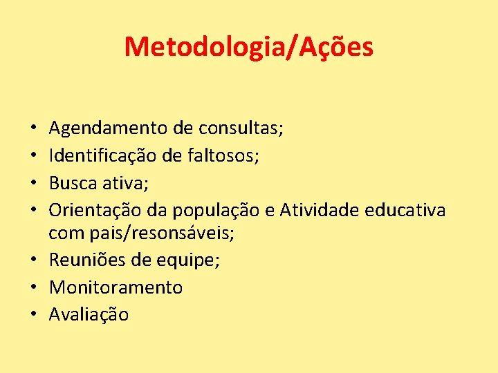 Metodologia/Ações Agendamento de consultas; Identificação de faltosos; Busca ativa; Orientação da população e Atividade