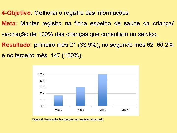 4 -Objetivo: Melhorar o registro das informações Meta: Manter registro na ficha espelho de