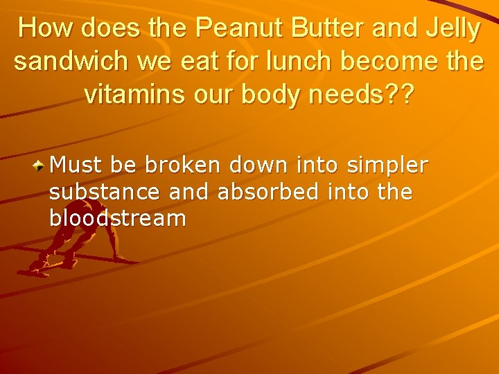 How does the Peanut Butter and Jelly sandwich we eat for lunch become the