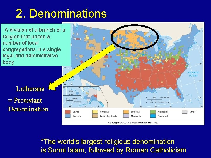 2. Denominations A division of a branch of a religion that unites a number