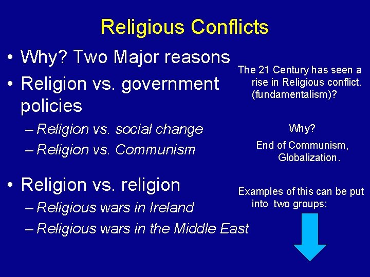 Religious Conflicts • Why? Two Major reasons The 21 Century has seen a •